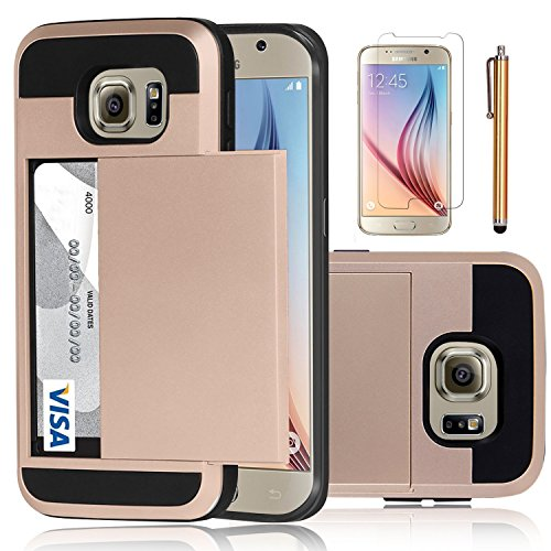 Elegant Choise Compatible with Galaxy S6 Case, Samsung Galaxy S6 Wallet Case, Hybrid High Impact Resistant Protective Shockproof Hard Shell with Card Holder Slot Cover Compatible for Samsung S6 -Pink