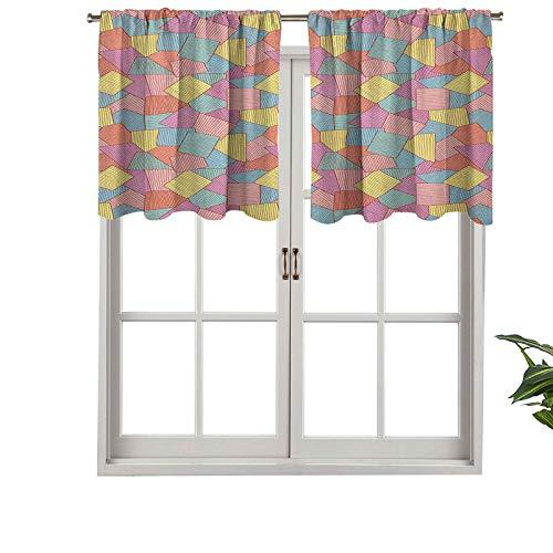 Hiiiman Cenefas de cortina opacas, paneles de cortina de bolsillo corto con diseño de azulejos con rayas finas, coloridas formas cuadradas vintage, juego de 2, 42 x 24 pulgadas para cocina y baño