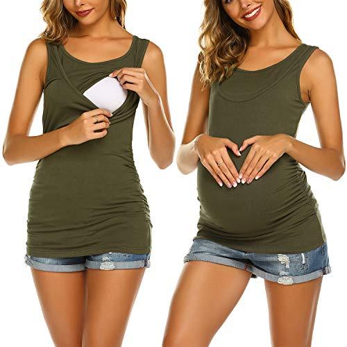 UNibelle T-Shirt Allaitement Femme Été Debardeur de Grossesse Manche Courte Concis Haut d'allaitement Vetement Allaitement Vert L