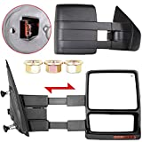 OCPTY Tow Mirror for 2007-2014 for Ford F-150 F150 Pickup Truck Pair Set Power Heated Puddle Signal Manual Telescopic Towing Mirrors (RH+LH)