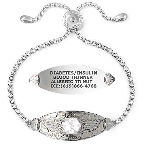 Divoti Bling-Bling Angel Wing Medical Alert Bracelet for Women w/Adjustable Crystal Chain & Free Engraving – Various Styles-White-M