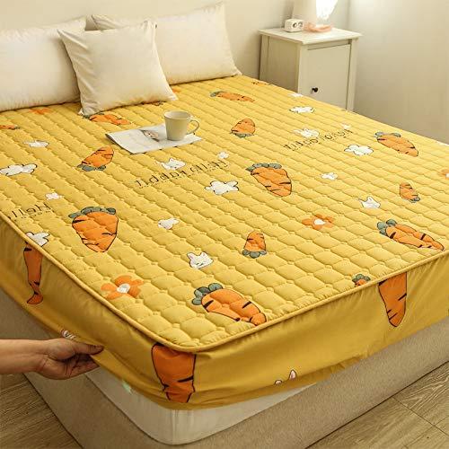 Mdsgfc Impresión de la cubierta de la cama de la almohadilla protectora de la cubierta King Queen sábana bajera colchón Topper No funda de almohada zanahoria-amarillo 200x220x25cm