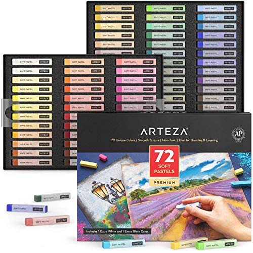 Arteza Soft Pastels, Set of 72 Artist-Grade Soft Pastel Sticks for Arts & Crafts Projects, Drawing, Blending, Layering, Shading, Art Supplies for All Ages and Artistic Experience Levels