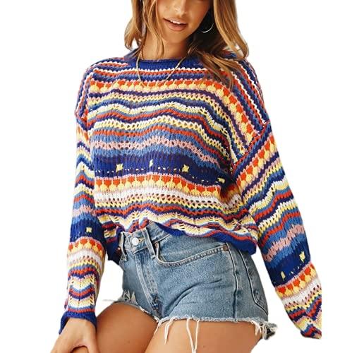 Eghunooze - Maglione da donna allentato a maniche lunghe, motivo arcobaleno, motivo floreale, girocollo, per l'autunno e l'inverno, Blu reale, S