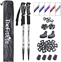 TheFitLife Nordic Walking Trekking Poles - 2 Packs with Antishock and Quick Lock System, Telescopic, Collapsible,...