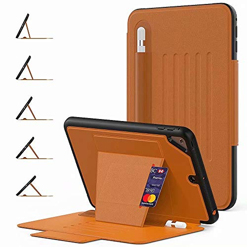 AKHIOK iPad 9.7 inch 2018 2017 Case/iPad Air 2 Case, Heavy Duty Shock Proof Case 5 Angles Magnetic Stand Smart Sleep/Wake Cover Flip Protective Case for iPad 9.7 (Brown)