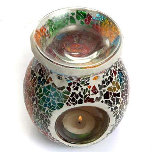 LCFYMX European Oil Furnace Aroma Burner Mosaic Colorful Candle Holder Candlestick Romantic Oil Lamp Crafts Gifts Home Decoration