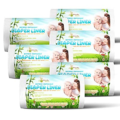 Naturally Natures Bamboo Disposable Diaper Liners (6PK) 600 Sheets Gentle and Soft, Chlorine and Dye-Free, Unscented, Biodegradable Inserts (Set of 6) 600 Liners