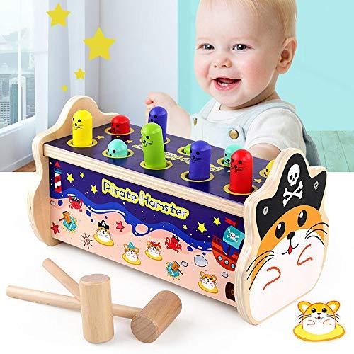 Arkmiido Klopfbank ,Enthält 2X Hammer, 10x Klopfstifte, Holzhammer Spielzeug Gopher Spielzeug, Tap Bench Hit Mole Hamster-Spiel, pädagogische Holzspielzeug Geschenk für Baby Kleinkinder (Pirat)