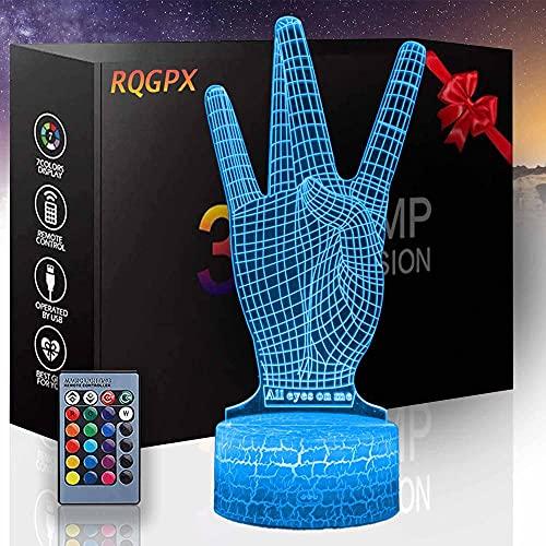 Gesture - Lámpara de escritorio con luz óptica 3D para lámpara de escritorio de 16 colores para decoración de Navidad y cumpleaños para niños y niños