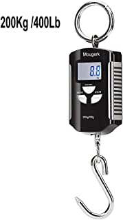 Mougerk Digital Hanging Scales 400 lb 200 kg Portable Heavy Duty Crane Scale 2 AAA Batteries(Not Included)