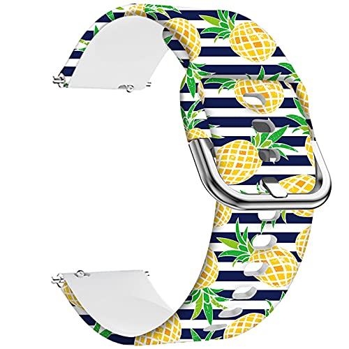 Ekezon 22mm Correas de Reloj Compatibles con Samsung Gear S3 Frontier/S3 Classic/Galaxy Watch 46mm/Galaxy Watch 3 45mm/Huawei Watch GT 2 46mm Silicona Liberación Rápida Pulsera (Pineapple, 22mm)