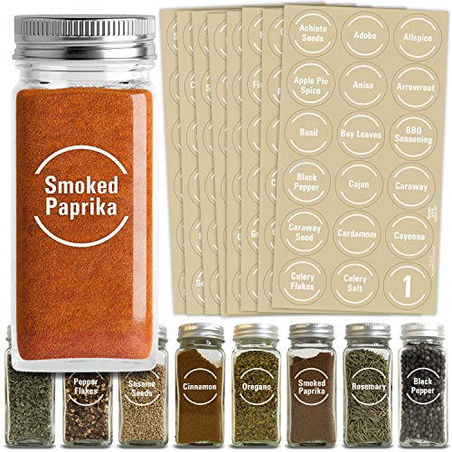 Talented Kitchen 144 Spice Jar Labels Preprinted: 144 White Spice Names + Numbers + Blanks. White Letters on Round Clear Stickers. Water Resistant for Spice Jars Rack Organization. Perfect Fit on Lids