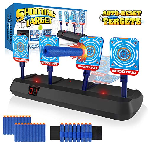 Growsland Nerf Target for Kids  Auto Reset Electronic Shooting Target for Nerf Guns Boy Toys Digital Scoring Light Sound Effect with 20 Pcs Darts amp 1 Hand Wrist Bands No Including Gun