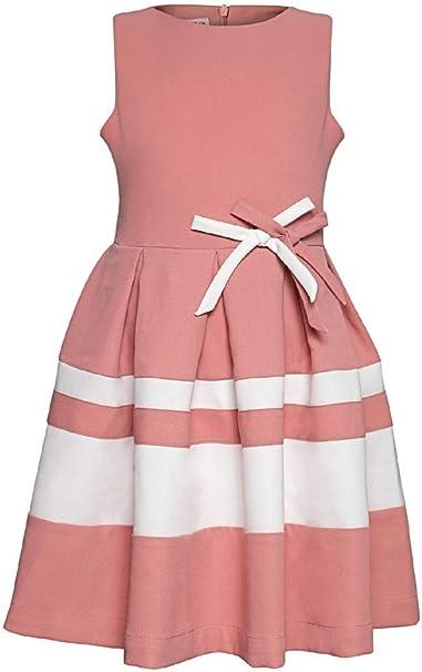 La V La V Festliches Kleid Gestreift Mit Schleifen Kleider Amazon De Bekleidung