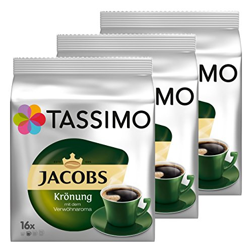 Tassimo Jacobs Krönung Kaffee Arabica Kaffeekapsel gemahlener Röstkaffee 3er Pack 3 x 16 T-Discs