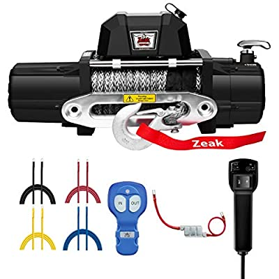 ZEAK 12000lb. Electric Truck Winch Synthetic Rope, Waterproof Off Road, for Jeep Truck, with Wirless Remote