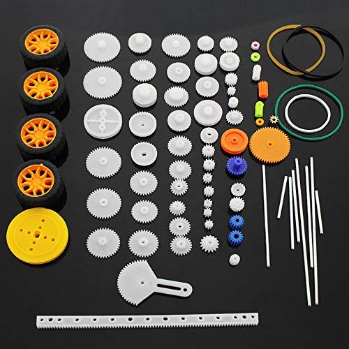 Set di ruote per alberi in plastica con ingranaggi 78 pezzi Singolo doppio riduttore Ingranaggio a vite senza fine Robot Parti di automobili Kit