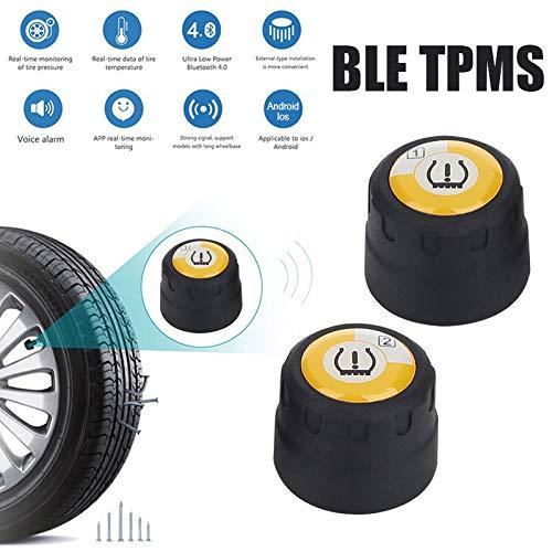 Haihuic - Sistema de monitorización de la presión de los neumáticos Bluetooth inalámbrico TPMS para Moto Universal, 2 sensores externos, detección de aplicación para teléfonos móviles Android iOS