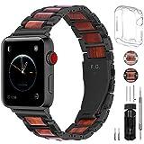 Cinturino per Apple Watch, Fullmosa Sandal Ctinturino in Acciaio Inossidabile e Legno per Apple Watch 42mm Compatibile con iWatch Serie 5/4/3/2/1, 42mm Nero + Hardware Ne