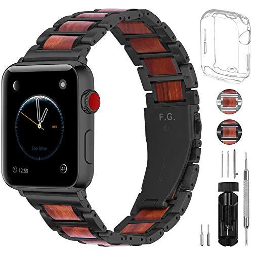 Fullmosa Cinturino per Apple Watch, Sandal Ctinturino in Acciaio Inossidabile e Legno per Apple Watch 42mm Compatibile con iWatch Serie 5/4/3/2/1, 42mm Nero + Hardware Nero