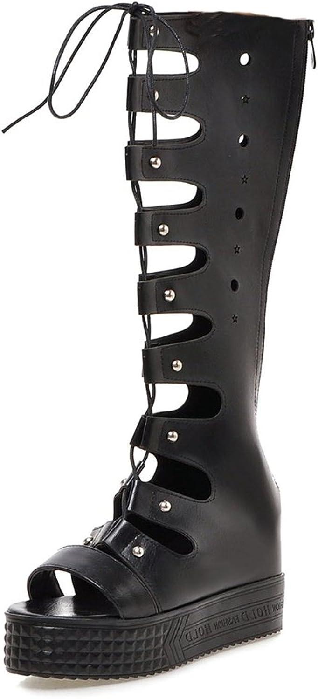 DecoStain Women's Mature Peep Toe Lace up Platform Knee High Heels Gladiator Sandals Party School Sandals