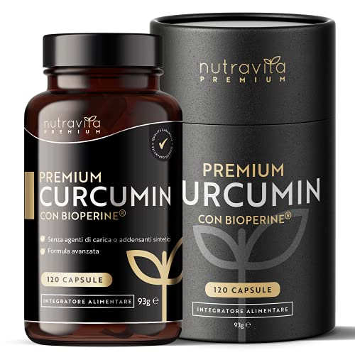 Premium Curcumina 95 con Bioperine® - 180 Capsule ad Alto Dosaggio (Fornitura per 3 Mesi) - più di alta qualità Curcuma Curcumina e Bioperine® (pepe nero estratto) - Prodotto da Nutravita