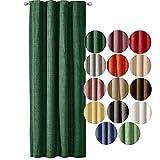JEMIDI Tenda decorativa effetto lino con nastro arricciato, 140 cm x 245 cm, opaca, per finestra, verde scuro