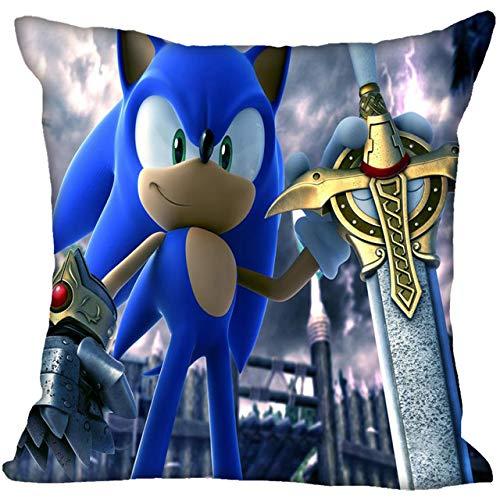 Almohada sónica 2021 Nuevo Sonic The Hedgehog Funda de Almohada Dormitorio Oficina en casa Funda de Almohada Decorativa Fundas de Almohada con Cremallera Cuadrada Satén Suave No se desvanecen