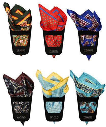 ZENXUS Pocket Square with Holder 6 Sets, Men's Handkerchiefs, Penetrating Printed & Sewn by Hand PPS601