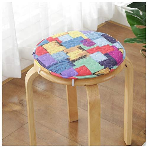 GHJL Set di 2 Piccoli Cuscini Rotondi per Sgabelli Cuscini per Sedie da Pranzo Sedie da Cucina Cuscini per Sedili con Lacci per Sgabello Alto Sedile da Bar Bistrot (Color : Color 9, Size : 40cm)