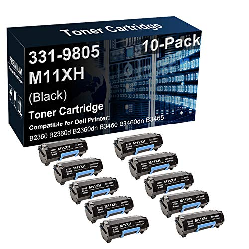 10-Pack Compatible High Yield 331-9805 M11XH C3NTP Toner Cartridge Used for Dell B2360 B3460 B3465 Printer (Black)