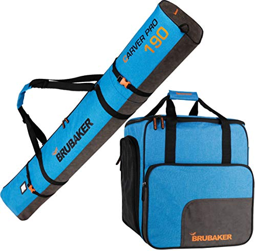 Brubaker Kombi Set Carver Performance - Skisack und Skischuhtasche für 1 Paar Ski + Stöcke + Schuhe + Helm - Blau meliert Schwarz - 190 cm