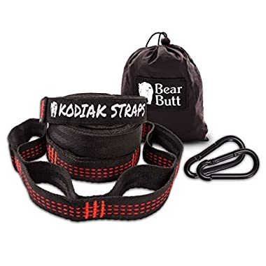 Bear Butt Kodiak Hammock Straps - 40 Combined Loops - 20 Feet Long - Holds 1000 Pounds From Our Extra Reinforced Triple Stitching - Get Our Hammock Tree Straps - Start Up Company (Black/Red)