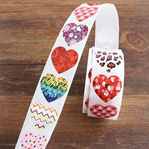 BLOUR 500 Stück Herz Aufkleber schwarz und rosa Siegel Etiketten Paket Dekoration Aufkleber Umschlag Siegel
