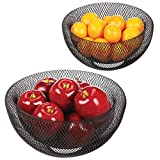 mDesign Double Wall Metal Mesh Decorative Fruit Bowl Basket Stand - Modern Wire Design for Kitchen Countertop Storage & Table Centerpieces - Container and Holder for Fruits/Vegetables, Set of 2, Black