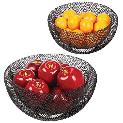 mDesign Set da 2 cestini porta frutta – Elegante e funzionale cesto per frutta, verdura, pane e altri alimenti – Cestini portafrutta, uno grande e uno piccolo – Stile anche decorativo – nero