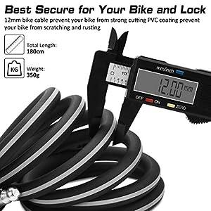 Qomolo Candado de Bicicleta,180 cm Seguridad Candado de Cable con 2 Piezas Llave, Antirrobo Bloqueo de Bicicleta para Moto,Bicicleta y Scooter,Puerta Parrillas