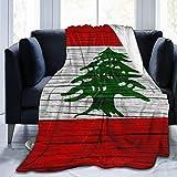 OUSHENGMAOYI Bandera Libanesa Textura Madera Líbano,Mantas De Cama,Tirar Una Manta,Manta Cálida A Cuadros,Colcha...