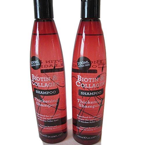 Champú de biotina y colágeno para un cabello más denso, 400 ml (Pack de 2)