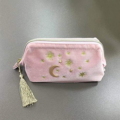 Sac de velours Broderie cosmétique mignon Organisateur Voyage Femmes Maquillage Sac Zipper Make Up Pouch Avec Moon Star Tassel Deco (Color : Pink)