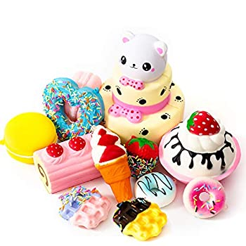 SYYISA Jumbo Squishies Slow Rising [12-Pack]  Bear Cake Ice Cream Donut Macaron Starawberry Cake and Waffles Kawaii Soft Food Squishy Toys - Squishys are Great Sensory Toys for Kids! Comes in Mix