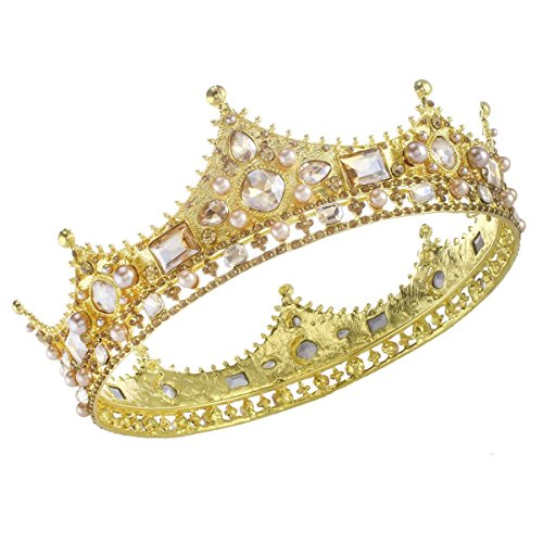 Santfe Royal Full King Crown - Metal Tiara Crown for Men Prom King Party Hats Costume Accessories (gold)