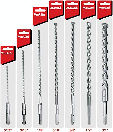 Makita 7 Piece - SDS-Plus Complete Drill Bit Set for SDS+ Rotary Hammers - Deep HD Drilling Into Concrete & Masonry