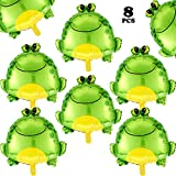 8 Pieces Frog Foil Balloons Large Inflatable Air Balloon Big Green Frog Mylar Balloons Animal Themed Party Decoration for Wedding Birthday Baby Shower School Party Supplies, 25.6 Inch