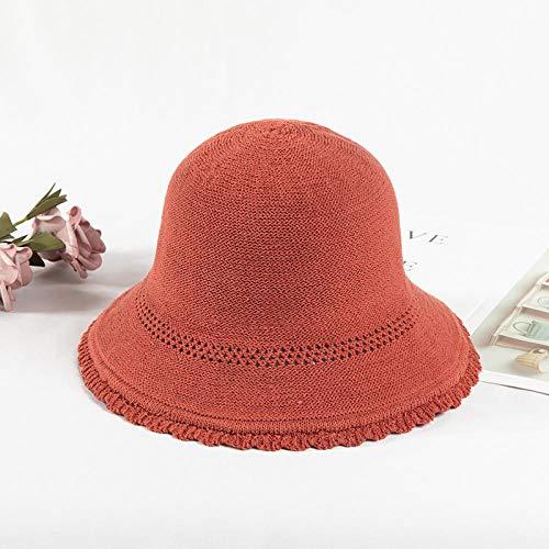 Hoed Vrouwelijke Zomer Ademende Gebreide muts Fisherman hoed Cover gezicht Zonnebrandcrème Adjustable (56-58cm) ORANJE