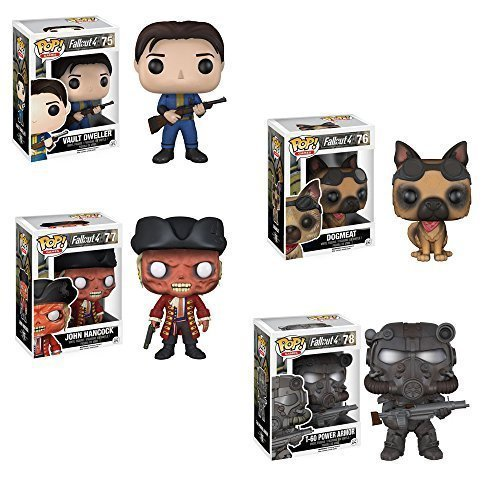 Pop! Games: Fallout 4 Vault Dweller, DogMeat, John Hancock, T-60 Vinyl Figures Set of 4! by Fallout