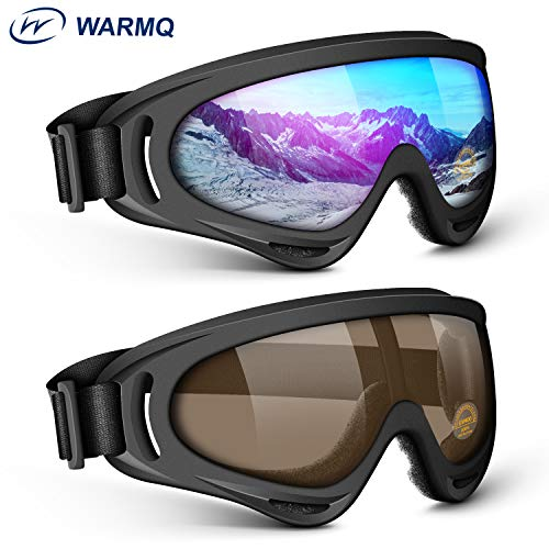 WARMQ Ski Goggles, Snowboard Goggles with UV 400 Protection, Anti-Fog, Windproof, Dustproof and Anti-Glare Lenses, Adjustable OTG Snow Goggles for Kids, Youth, Men & Women (Multicolor and Brown)