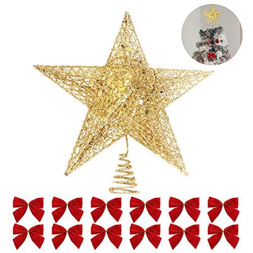 Lifreer Weihnachtsbaumschmuck, 1 x Weihnachtsbaumspitze, 25,4 cm, glitzernde Sterne, Baumspitze und 12 x Weihnachtsbaum-Schleifen, für Weihnachten, Heimdekoration