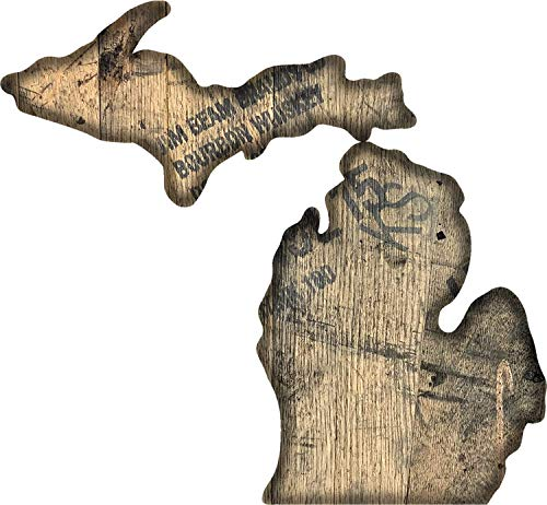 WhiskeyMade State Sign Cutout Wall Art - Made from Reclaimed Bourbon Barrels - Beautiful Home Decoration - Made in The USA (Michigan)